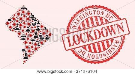 Vector Mosaic Washington District Columbia Map Of Flu Virus, Masked Men And Red Grunge Lockdown Seal