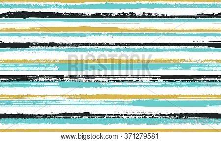 Pain Handdrawn Rough Stripes Vector Seamless Pattern. Cute Kids Clothes Fabric Design. Grainy Textur