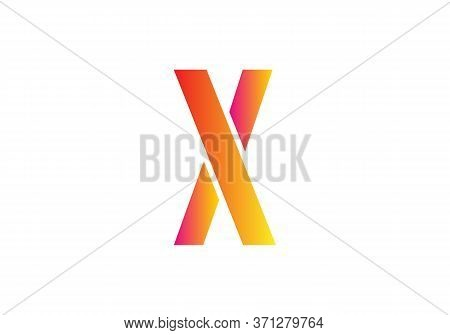 Creative  X Letter Design Vector  For Title, Header, Lettering, Logo. Technology Areas Typeface. Col