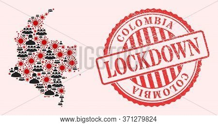 Vector Mosaic Colombia Map Of Sars Virus, Masked People And Red Grunge Lockdown Seal. Virus Items An