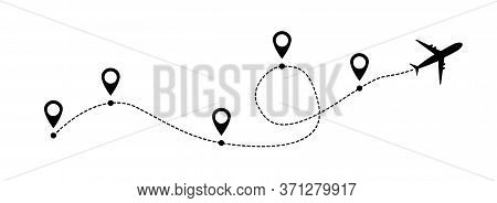 Airplane Line Vector Icon Of Air Plane Flight Route With Start Point And Line Trace Isolated On Whit