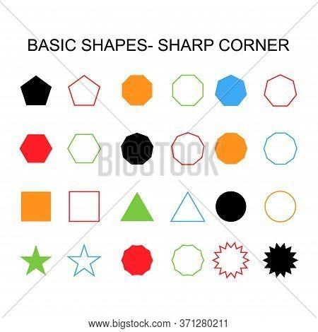Basic Shapes - Sharp Corner Set Icon, Vector Geometrical Collection. Vector Illustration Sign Isolat