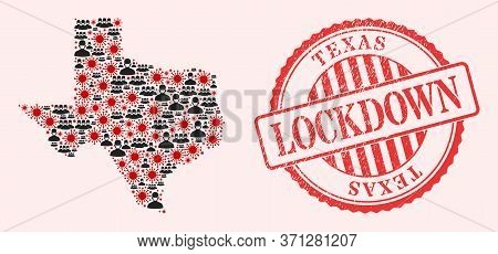 Vector Mosaic Texas State Map Of Sars Virus, Masked People And Red Grunge Lockdown Seal Stamp. Virus