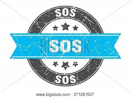 Sos Round Stamp With Turquoise Ribbon. Sos