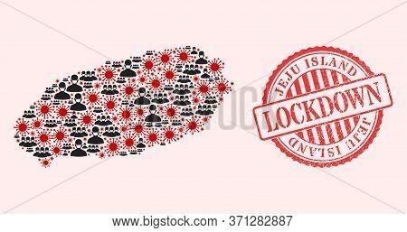 Vector Collage Jeju Island Map Of Flu Virus, Masked Men And Red Grunge Lockdown Stamp. Virus Element