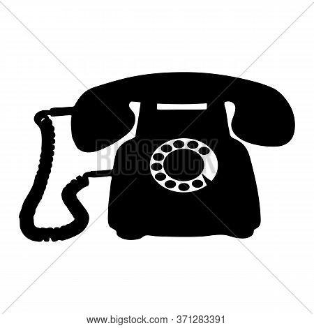 Retro Old Phone Black Silhouette. Vector Eps10.
