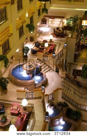 Luxury Hotel Lobby With Fountains