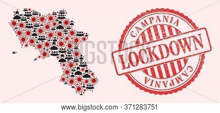 Vector Mosaic Campania Region Map Of Corona Virus, Masked People And Red Grunge Lockdown Stamp. Viru