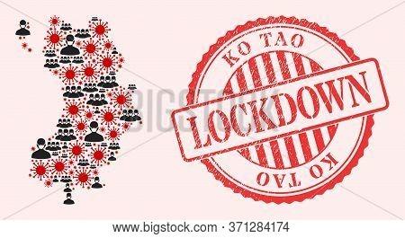Vector Collage Ko Tao Map Of Sars Virus, Masked Men And Red Grunge Lockdown Seal Stamp. Virus Elemen