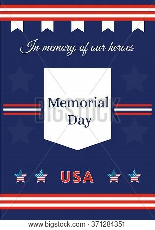 American Memorial Day Poster Flat Vector Template. Celebration For War Anniversary. Us Freedom And L