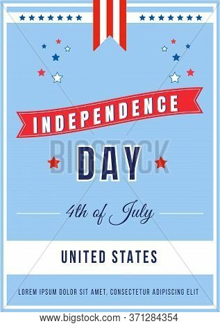 Independence Day Annual Ceremony Poster Flat Vector Template. American National Holiday. Us Freedom