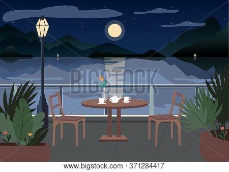 Street Restaurant At Night Flat Color Vector Illustration. Served Cafe Table On Terrace. Evening Din