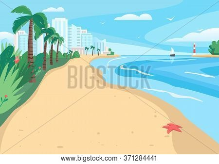 Sandy Beach Flat Color Vector Illustration. Coastline With Skyscrapers And Tropical Palms. Exotic Su
