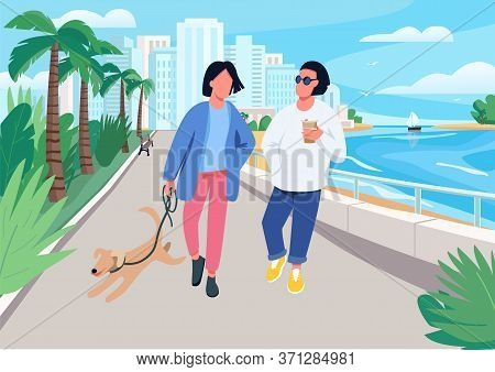 Couple With Dog Walking Along Seafront Flat Color Vector Illustration. Summer Recreation In Tropical