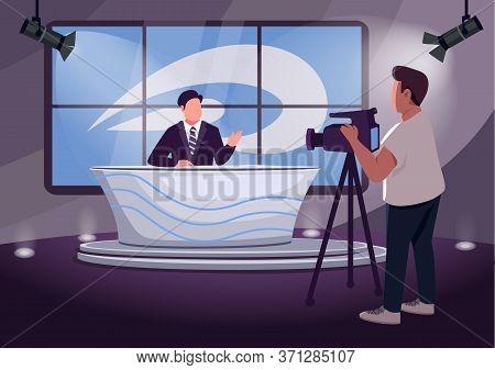 News Production Flat Color Vector Illustration. Professional Anchorman And Cameraman 2d Cartoon Char