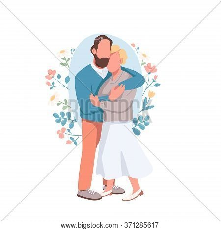 Married Couple Flat Concept Vector Illustration. Husband Embrace Happy Wife. Romantic Date. Flirting