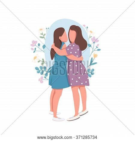 Lesbian Couple Flat Concept Vector Illustration. Two Mone Hug Each Other. Romantic Relationship Betw