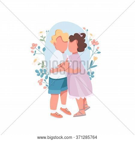 Hugging Kids Flat Concept Vector Illustration. Brother Hold Little Sister. Cute Children Cuddling To