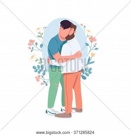 Gay Couple Flat Concept Vector Illustration. Same Sex Romantic Relationship. Happy Hugging Men. Fami