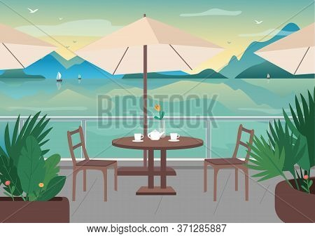 Street Restaurant At Seaside Resort Flat Color Vector Illustration. Served Cafe Table On Terrace. Se