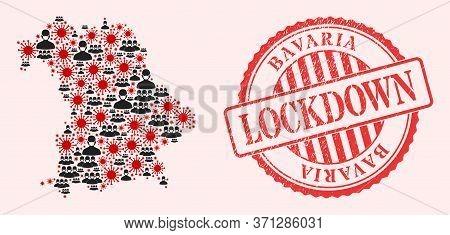 Vector Collage Bavaria Land Map Of Corona Virus, Masked Men And Red Grunge Lockdown Seal Stamp. Viru