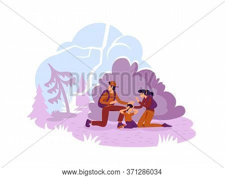 Wildfire 2d Vector Web Banner, Poster. Tourist Family Escaping From Burning Woodland Flat Characters