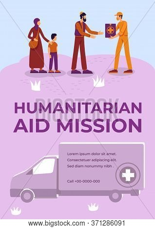 Humanitarian Aid Mission Poster Flat Vector Template. War Refugees Help. Volunteer Services. Brochur