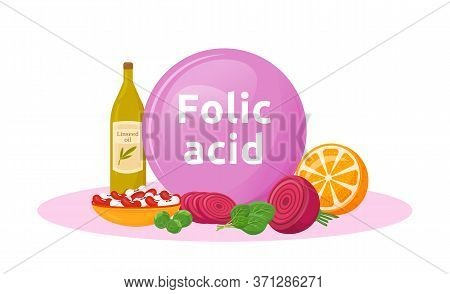 Products Rich Of Folic Acid Cartoon Vector Illustration. Benefits Of Vegetables And Beans. Linseed O