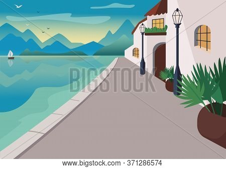 Seaside Resort Village Flat Color Vector Illustration. Waterfront Street With Buildings And Tropical