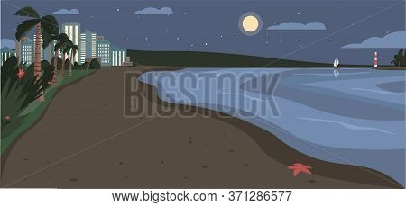 Sandy Beach At Night Time Flat Color Vector Illustration. Evening Coastline With Skyscrapers And Tro