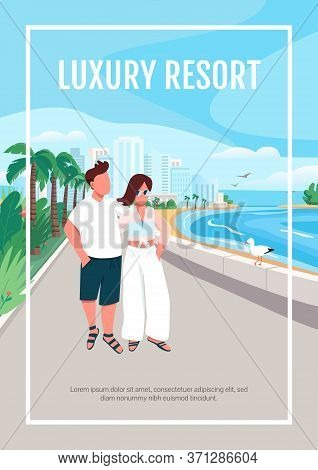 Luxury Resort Poster Flat Vector Template. Couple In Love Walking On Seafront. Brochure, Booklet One