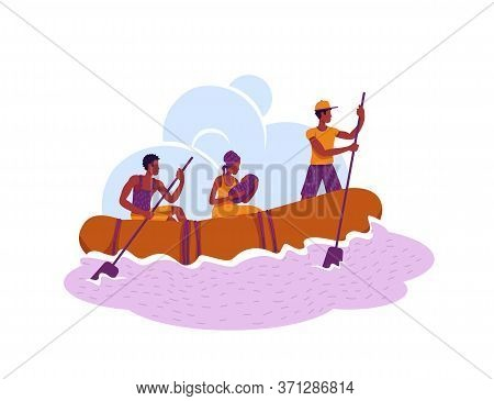 Refugees In Boat 2d Vector Web Banner, Poster. Migrants Crossing Country Border Flat Characters On C