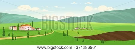 Planting Season In Hilltop Villages Flat Color Vector Illustration. Small Old Towns 2d Cartoon Lands