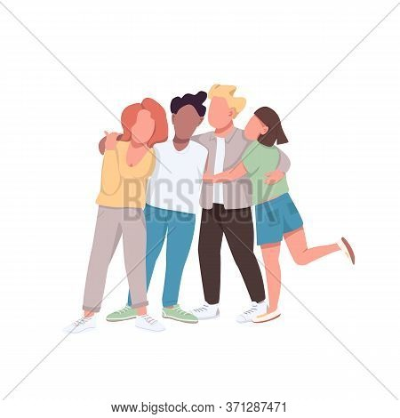Community Flat Color Vector Faceless Characters. Close Friendship. Woman And Man Hug Together. Multi