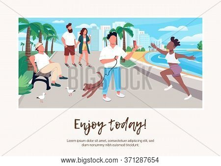 Enjoy Today Banner Flat Vector Template. Brochure, Poster Concept Design With Cartoon Characters. Pe