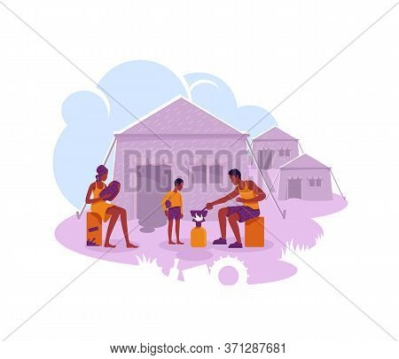 Refugee Camp 2d Vector Web Banner, Poster. Illegal Migrant Temporary Settlement Flat Characters On C