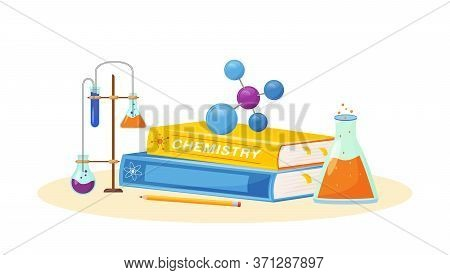 Chemistry Flat Concept Vector Illustration. School Subject. Lab Analysis. Natural Science Metaphor.
