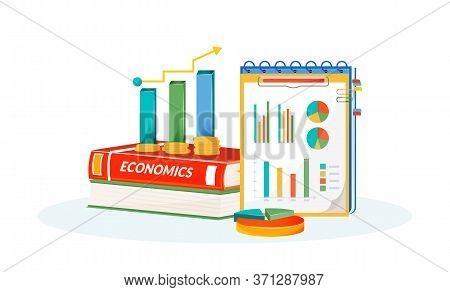 Economics Flat Concept Vector Illustration. School Subject. Social Science Learning Metaphor. Statis