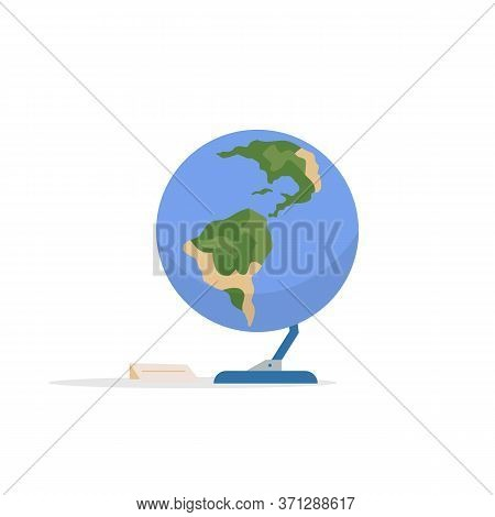 Earth Globe Cartoon Vector Illustration. Astrology Exposition Installation. Planetarium Showcase Pie