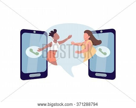 Stay In Touch Flat Concept Vector Illustration. Two Woman Want To Hug. Multi Racial Lesbian Couple.