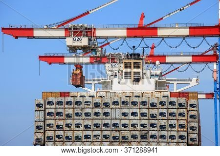 Large Container Ship Loaded With Refrigerated Containers.