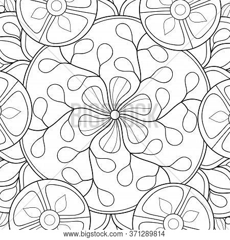 An Abstract Background With Zen Ornaments Image For Relaxing.zen Art Style Illustration For Print.po