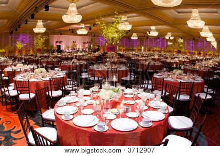Table Setting At A Luxury Wedding Reception