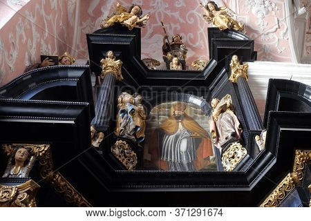 ZAGREB, CROATIA - SEPTEMER 26, 2018: Saint Nicholas, altar of Saint Apollonia in the Church of Saint Catherine of Alexandria in Zagreb, Croatia