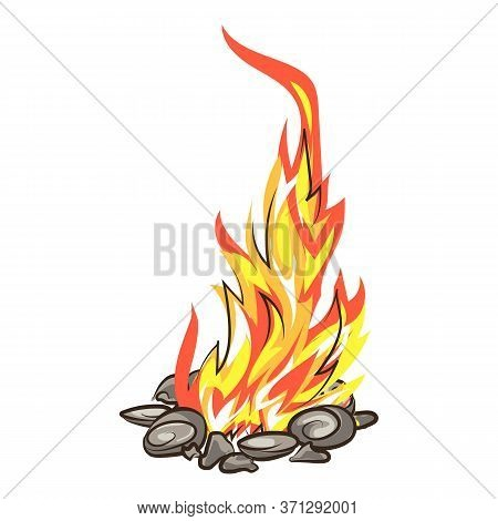 Roasting Campfire Icon. Cartoon Of Roasting Campfire Vector Icon For Web Design Isolated On White Ba