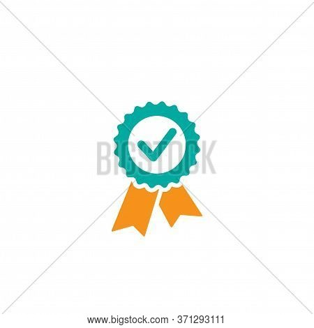 Valid Seal Icon. Blue Circle With Ribbon And Gold Tick. Flat Ok Sticker Icon. Isolated On White