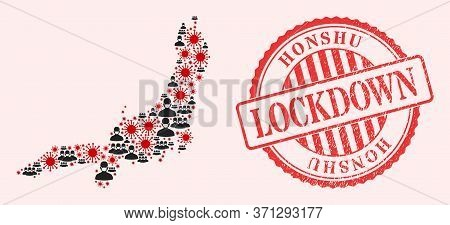 Vector Mosaic Honshu Island Map Of Covid-2019 Virus, Masked People And Red Grunge Lockdown Stamp. Vi