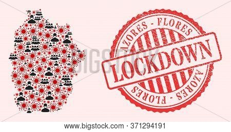 Vector Collage Flores Island Of Azores Map Of Corona Virus, Masked Men And Red Grunge Lockdown Seal