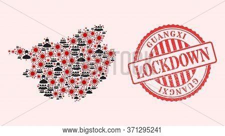 Vector Collage Guangxi Province Map Of Sars Virus, Masked Men And Red Grunge Lockdown Stamp. Virus C