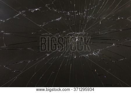 Close-up View Of Dark Grey Slanted Broken Lcd Screen With Visible Pixel Grid And Selective Focus